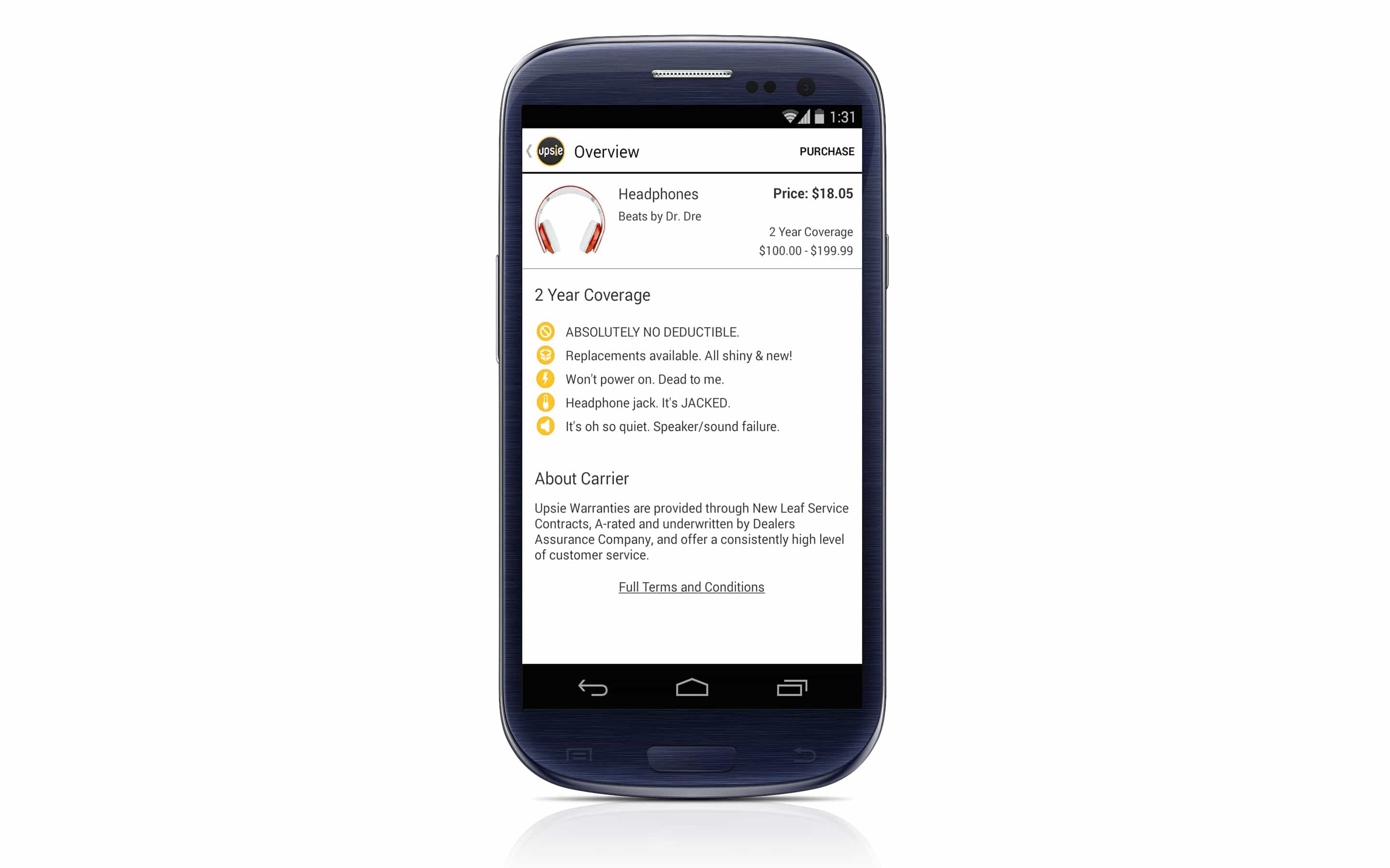 Beat's protection page on Android.