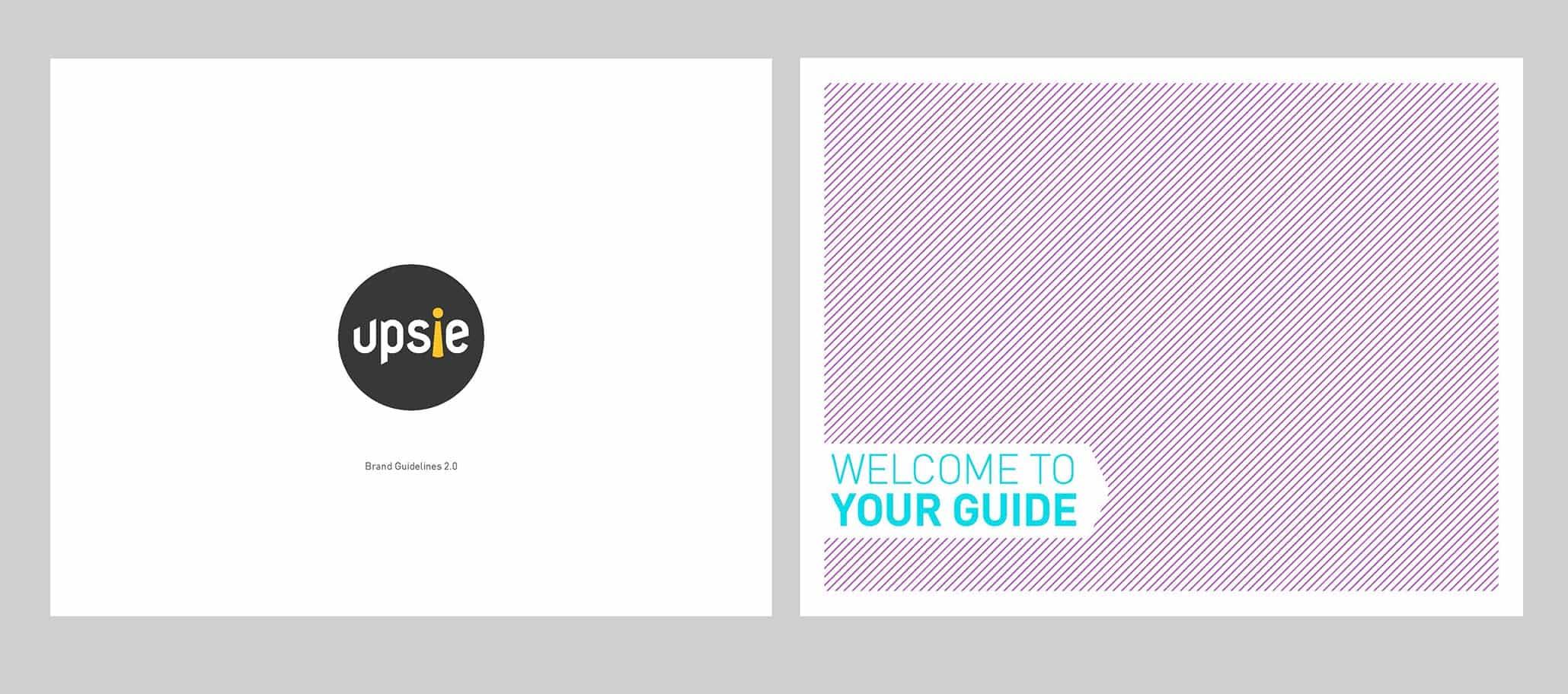 Upsie Brand Guidelines Cover and Welcome Pages