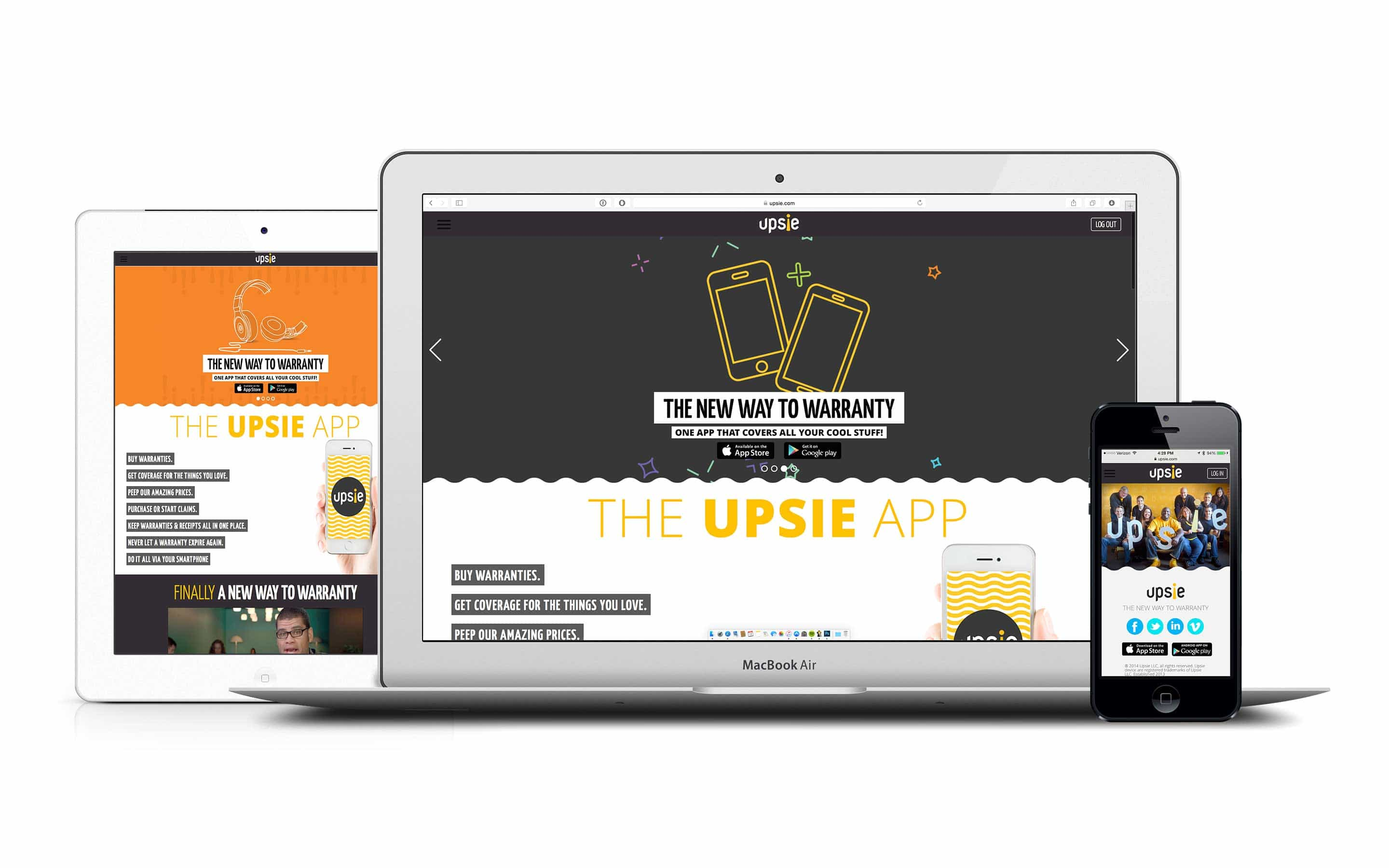 Upsie website home page on multiple devices