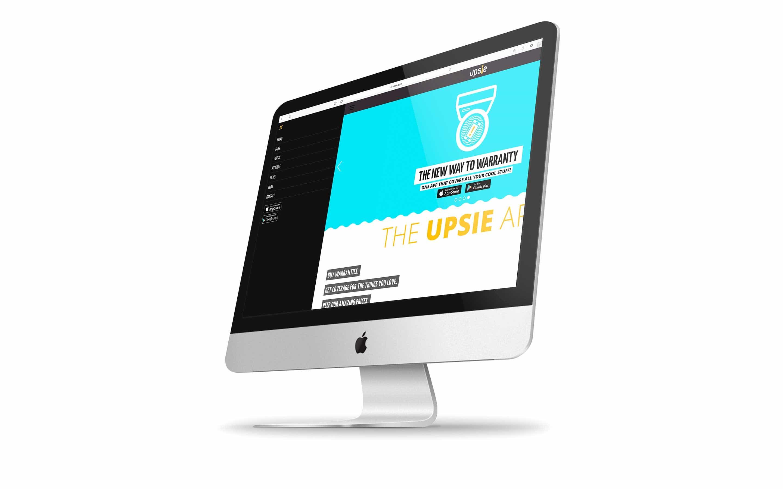 Upsie.com on desktop screen. Open navigation.